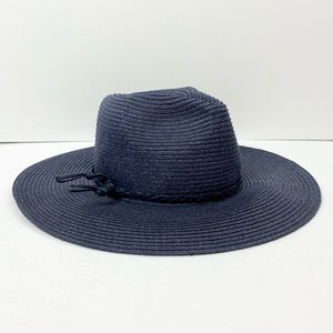 L*Space Wide Brim Natural Straw Hat in Navy